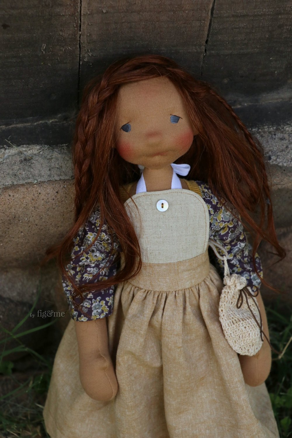 Rayne, the woodcutter's daughter. Natural fiber art doll by Fig and Me.