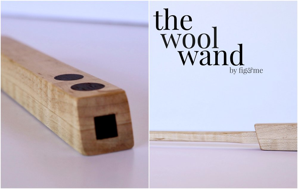 The wool wand is a wooden tool made of beautiful hardwoods, that allows you to roll wood to stuff your dolls. Created by Fig and Me.
