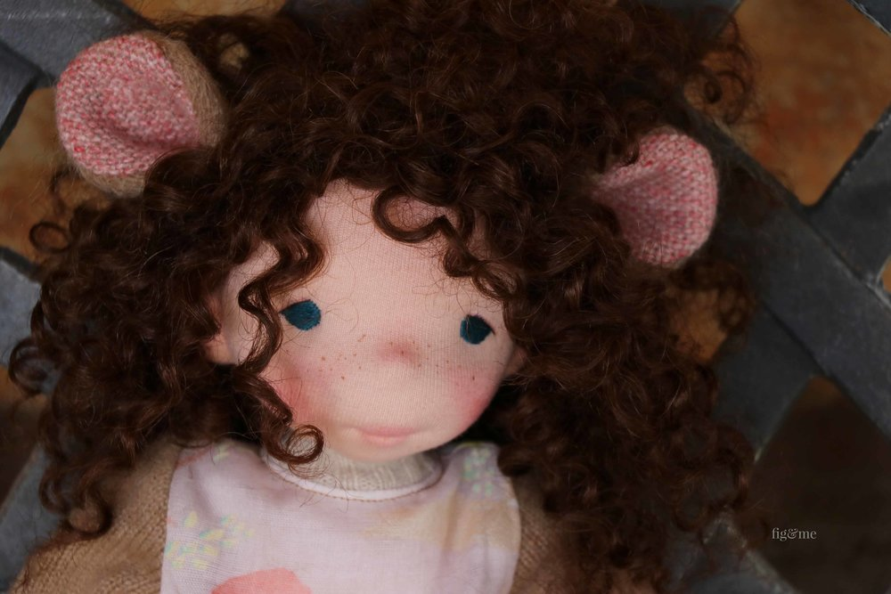 Pia, an all-natural, cloth art doll by Fig and Me.