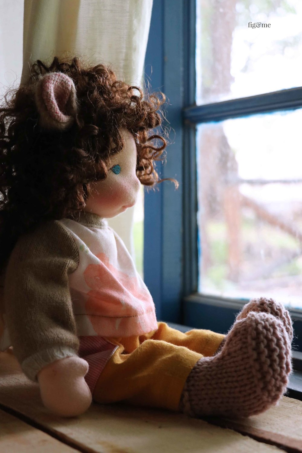 Pia the bear, a natural fiber art doll by Fig and Me.