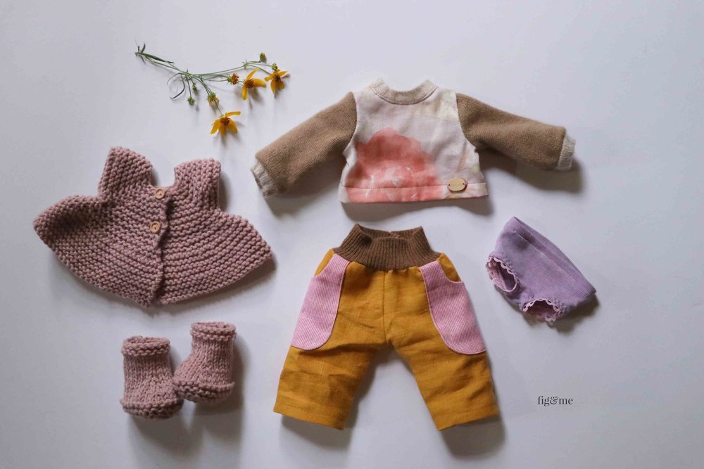 Pia's little clothes, all handmade by Fig and Me.