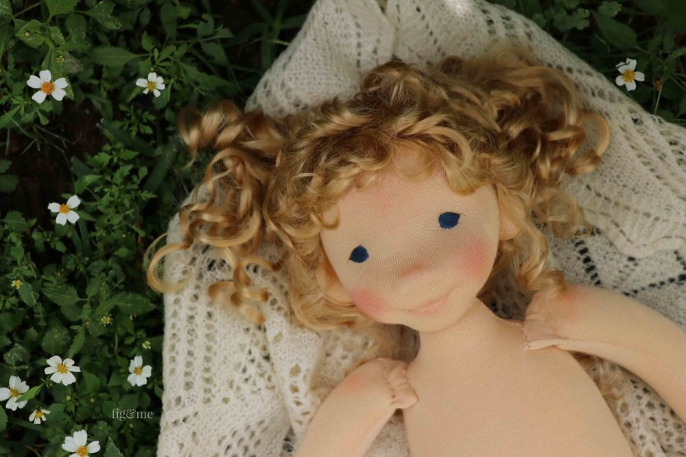 Little Amanda, a custom natural fiber art doll by Fig and Me.