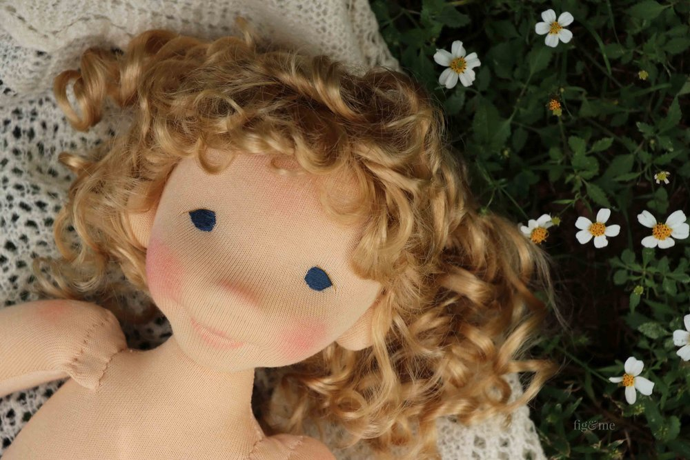 Little Amanda, a natural custom art doll by Fig and Me.