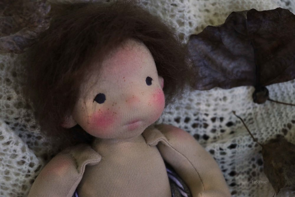 Blair, a natural cloth art doll by Fig and Me.