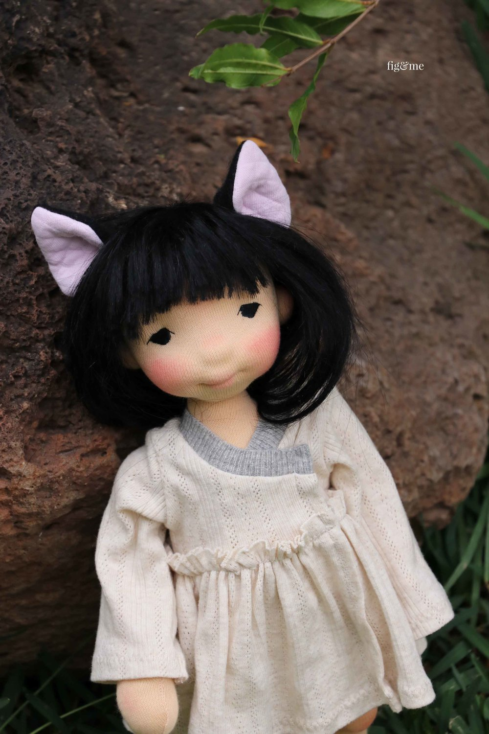 Aoki wearing a cute set of cat ears! by Fig and Me. (doll ears available for purchase on my BigCartel store).