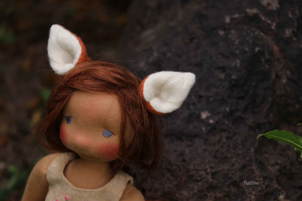 Fox ears for your lovely doll. via Fig and Me.