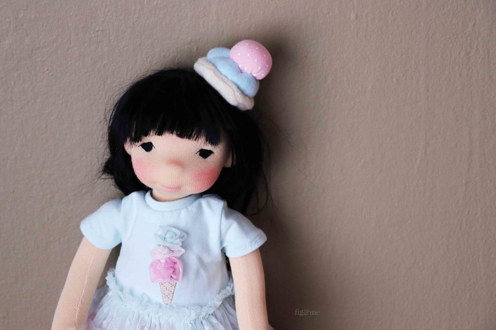 Aoki, a custom natural fiber art doll by Fig and Me.