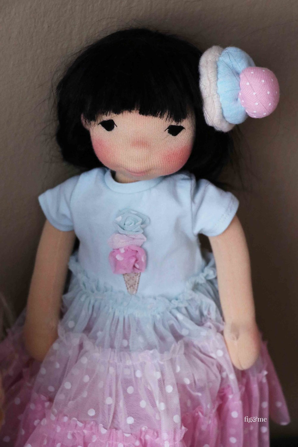 Aoki, a natural fiber art doll by Fig and Me.