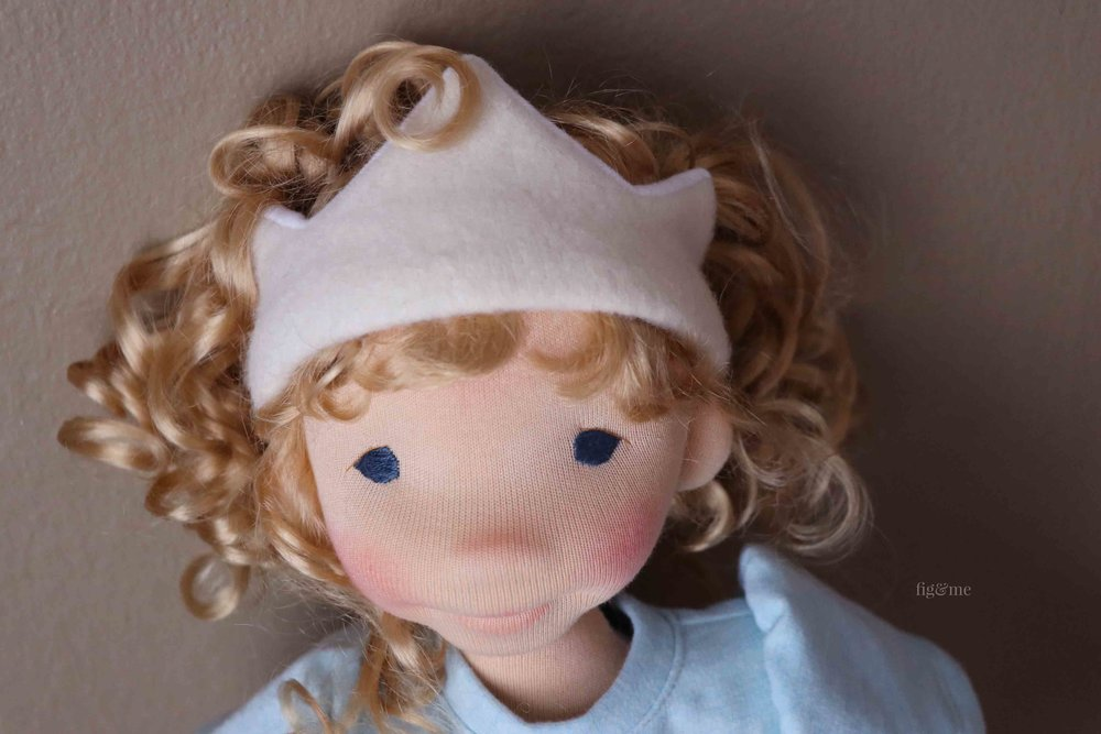 Amanda, a natural fiber art doll by Fig and Me.