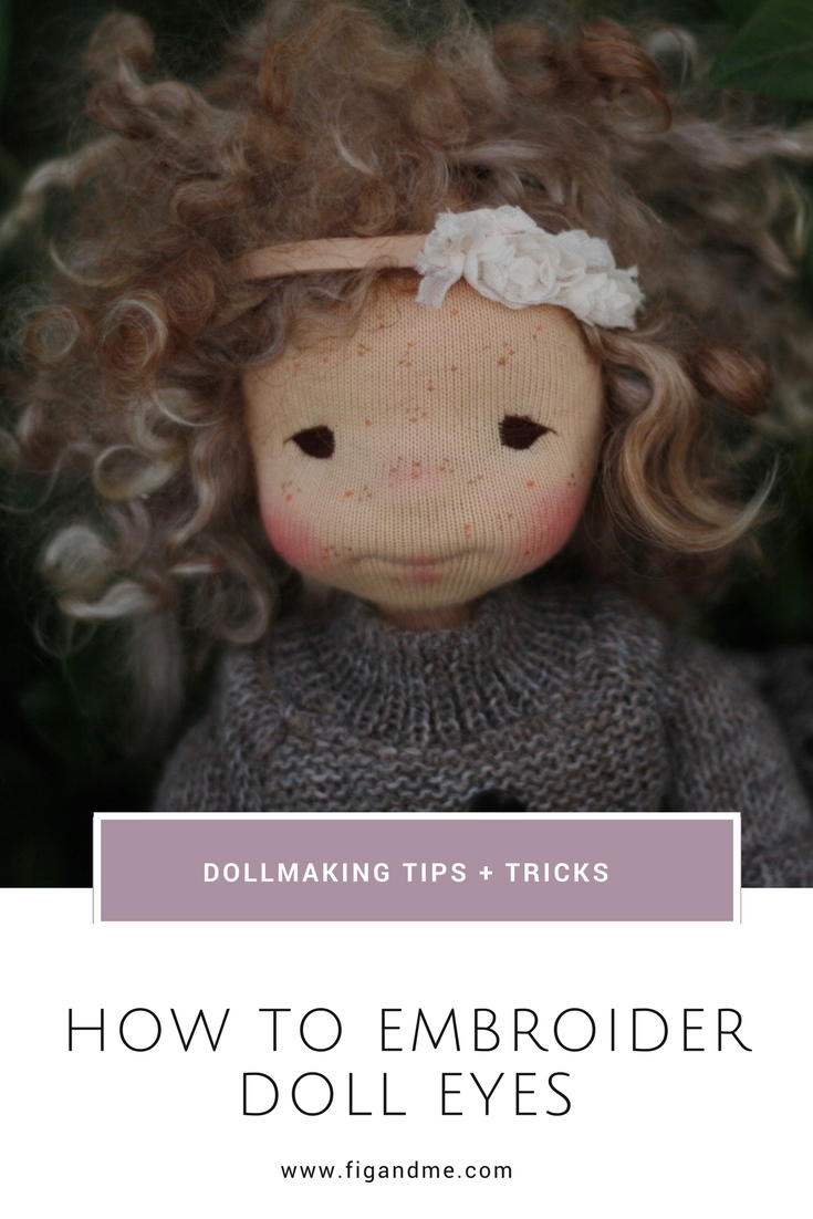 How to embroider doll's eyes, a mini tutorial by Fig and Me.