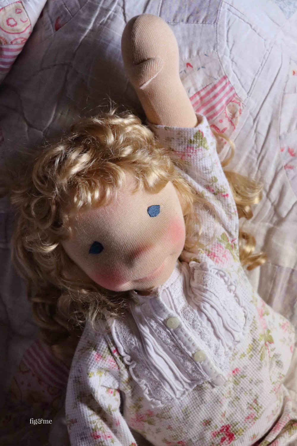 Amanda, a custom natural fiber art doll by Fig and Me.