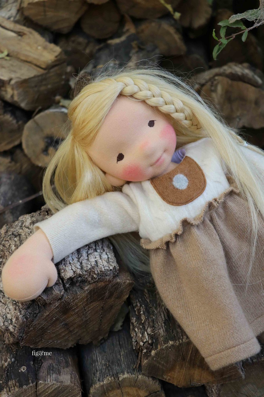 "Aspen, a custom 17"" tall Figlette, a natural fiber art doll by Fig and Me. #dollmaking #waldorfinspired #fiberart"