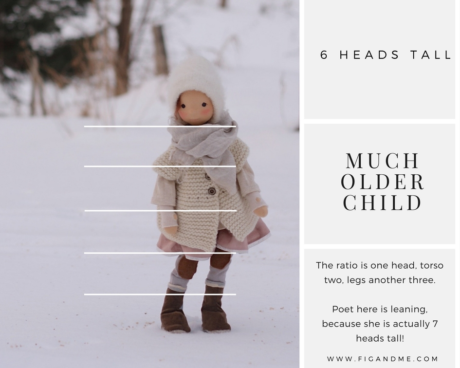 From 6-heads-tall and up you are designing a doll with the body proportions of an older child. Learn to design your very own #dollpattern via Fig and Me. #dollmaking