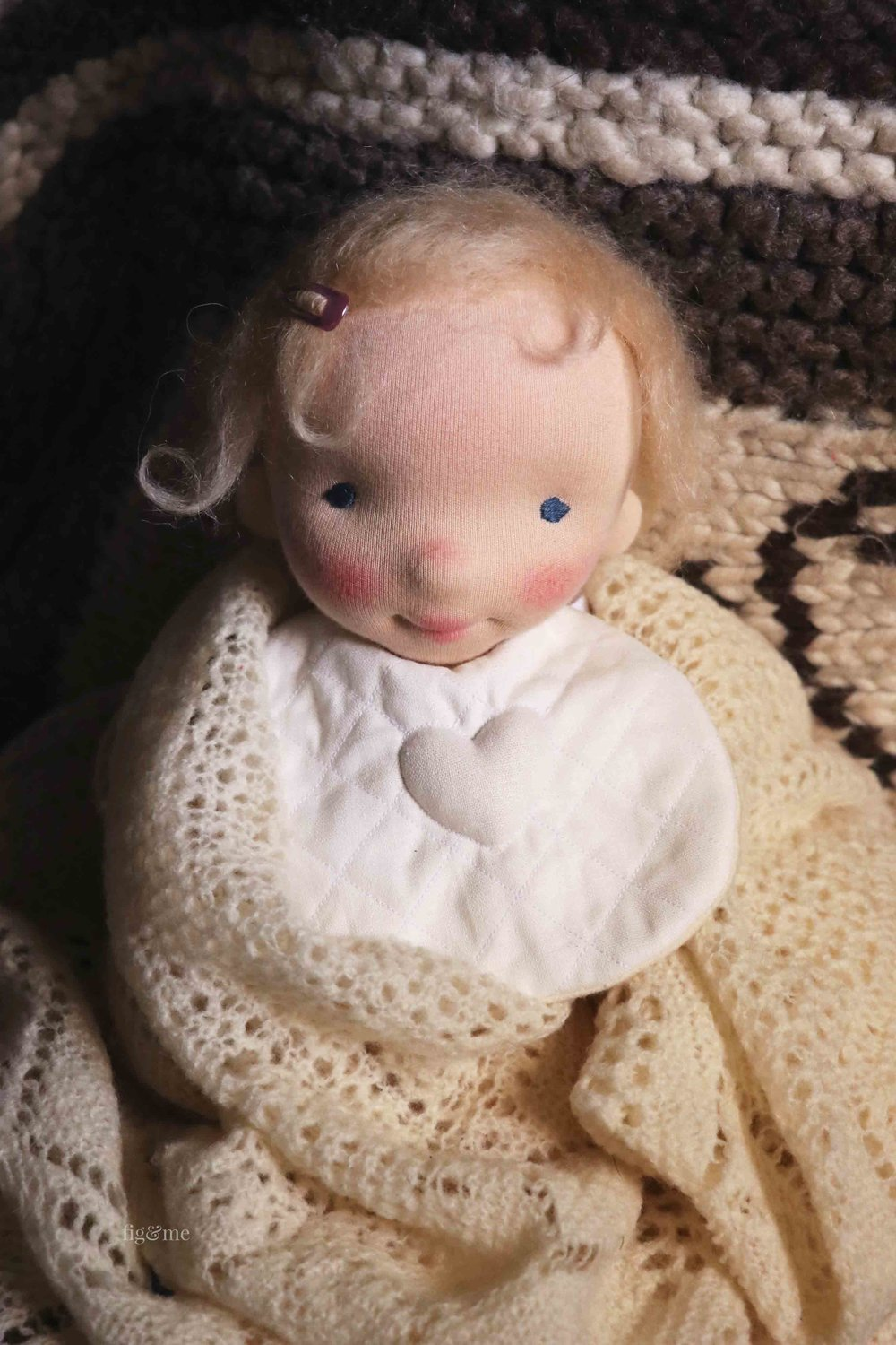 Aelfreda, a custom natural fiber art doll by Fig and Me. #dollmaking #sewingfordolls