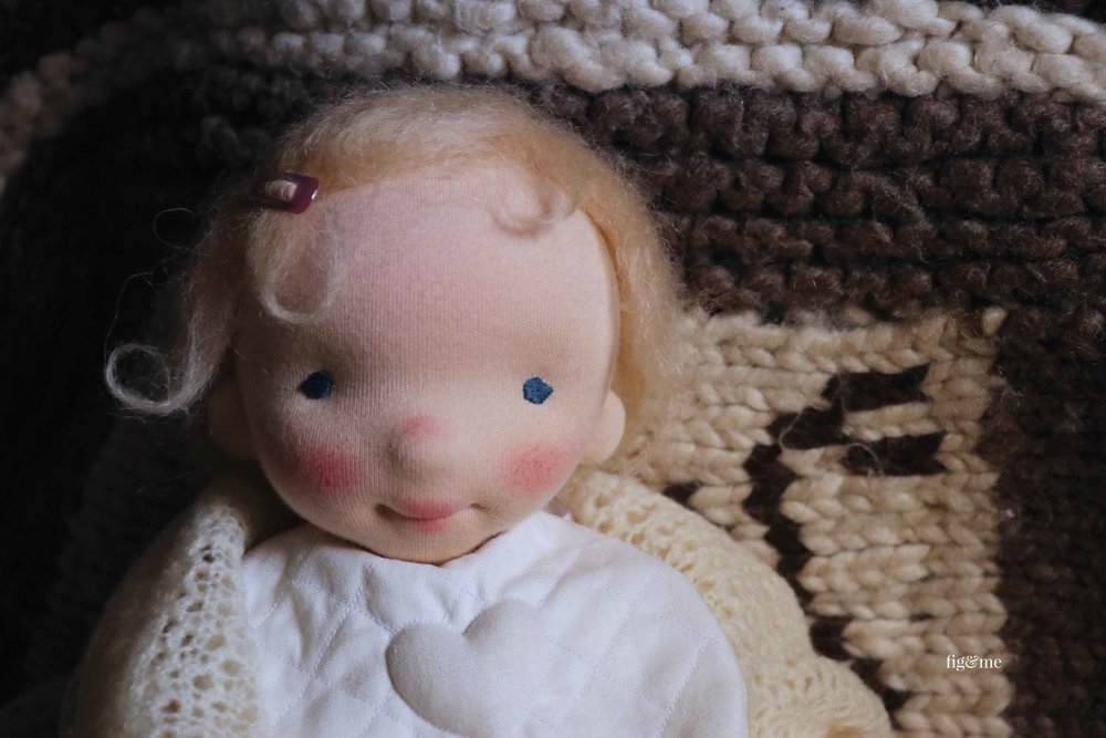 Baby Aelfreda, a custom natural fiber art doll by Fig and Me.
