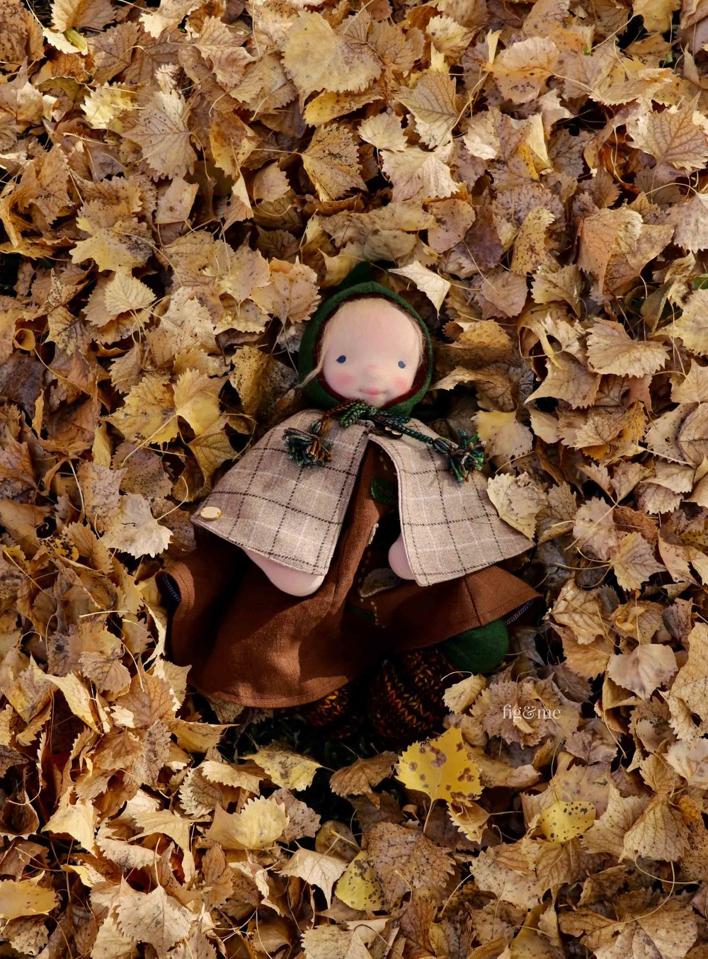 Aelfreda - in a nest of leaves, by Fig and Me.