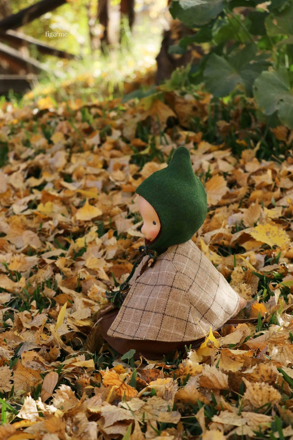 Enjoying the hurrahs of autumn. Aelfreda is a custom natural fiber art doll, made by Fig and Me.