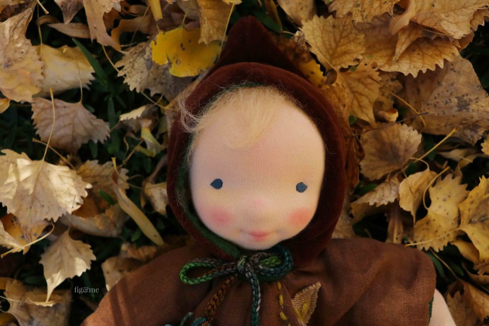 Baby Aelfreda, a doll inspired by the root children. By Fig and Me. #dollmaking #naturaldolls