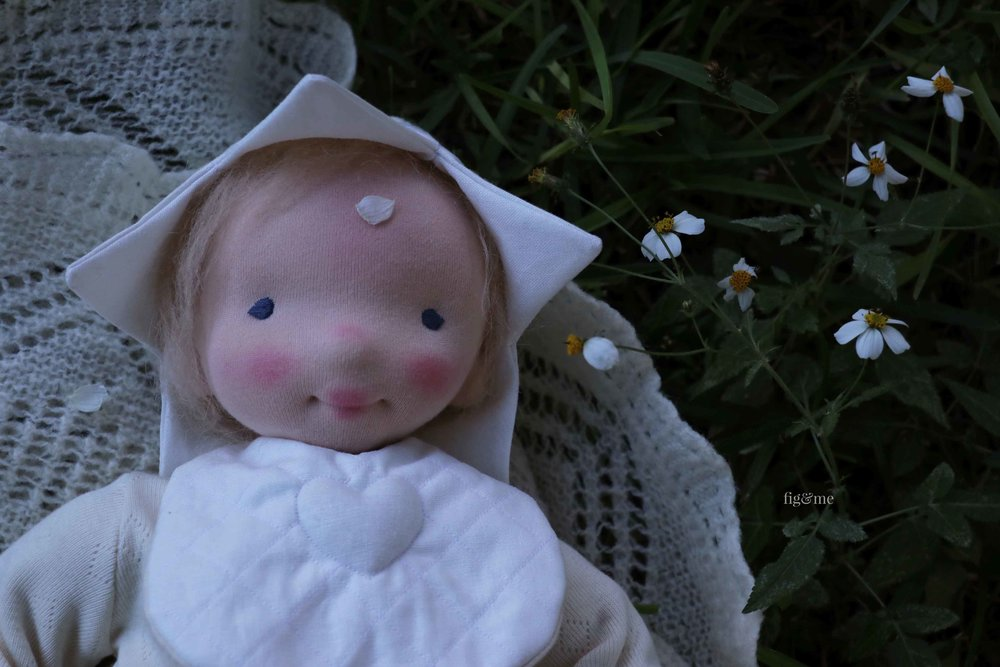 Baby Aelfreda, a custom baby doll by Fig and Me.