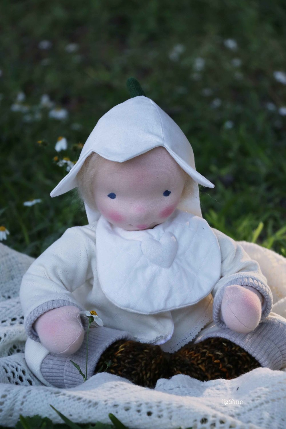 Baby Aelfreda, a custom, waldorf inspired, baby art doll by Fig and Me.