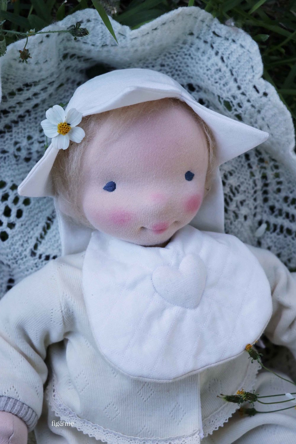Baby Aelfreda, a custom baby doll by Fig and Me. #dollmaking #naturalfiberartdolls