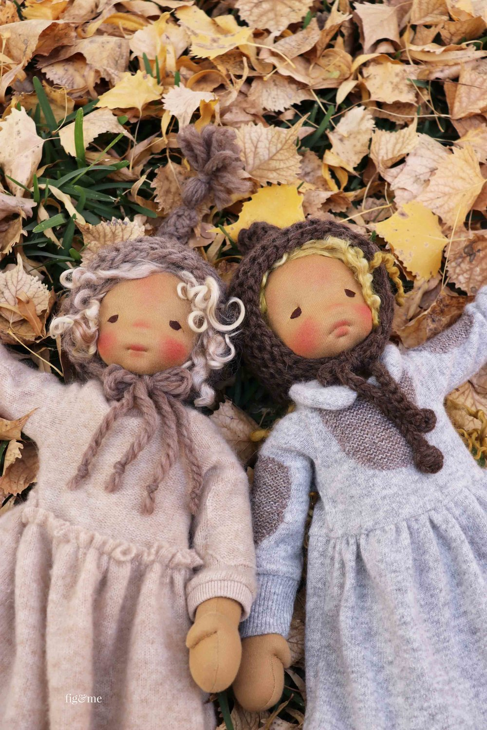 Winter to the left, and Mori to the right. Two natural fiber art dolls by Fig and Me.