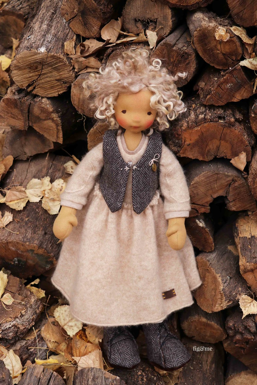 Winter, a natural cloth art doll by Fig and Me. #dollmaking #naturaltoys #artdoll