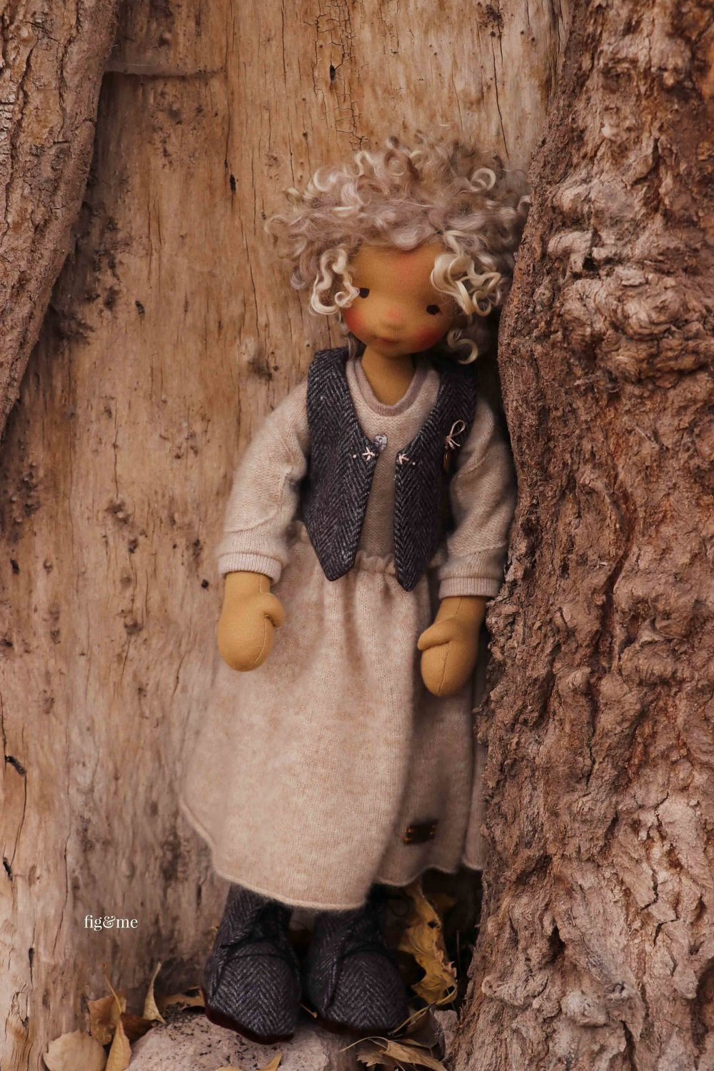 Winter, a Petite Fig doll by fig and me. Wearing her cashmere dress, twill vest and tall boots and sweet smile.