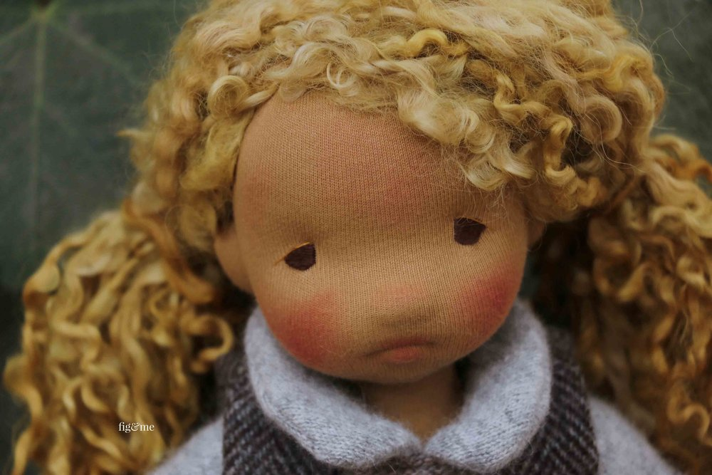 Mori, a natural fiber art doll by fig and me.