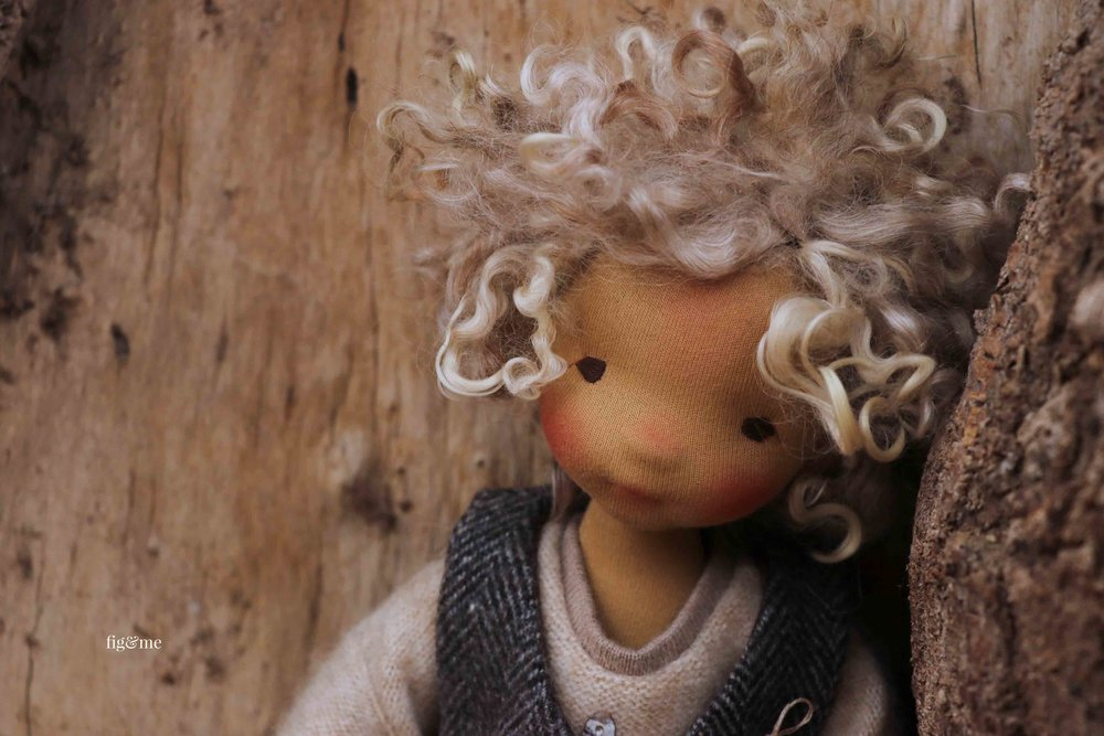 Winter, a natural fiber art doll, by fig and me.