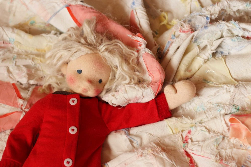 Runa my love, trying to wake up. A natural fiber art doll by Fig and Me.