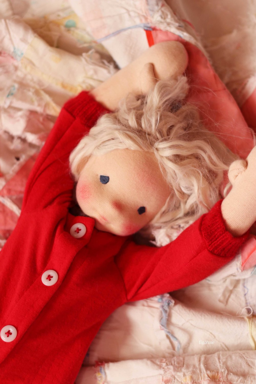 Runa, doing her morning stretches. Natural fiber art doll by Fig and Me.
