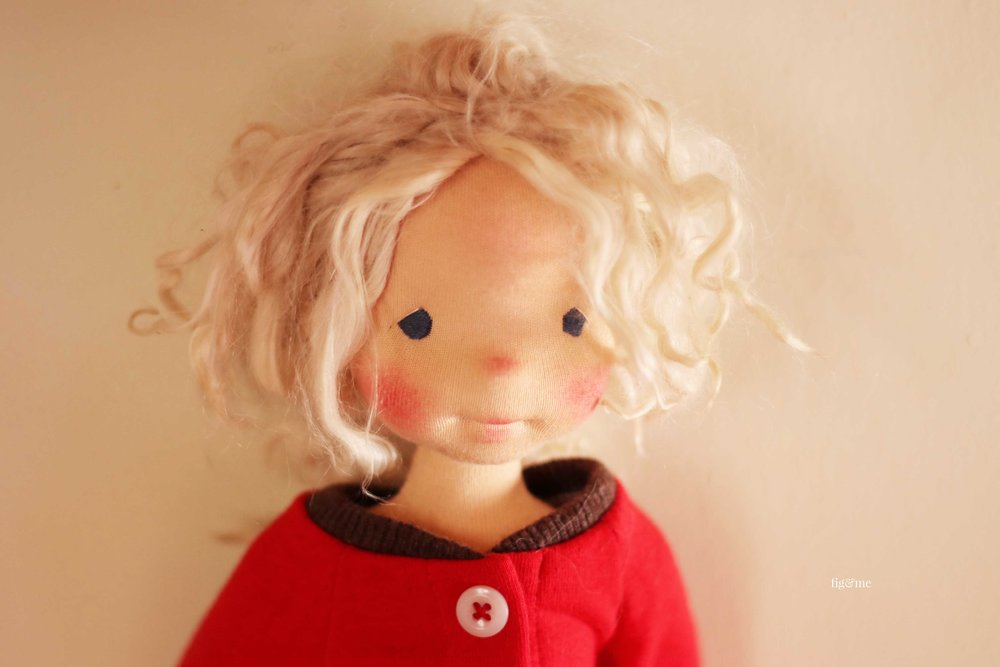 Rúna, a natural fiber art doll by Fig and Me.
