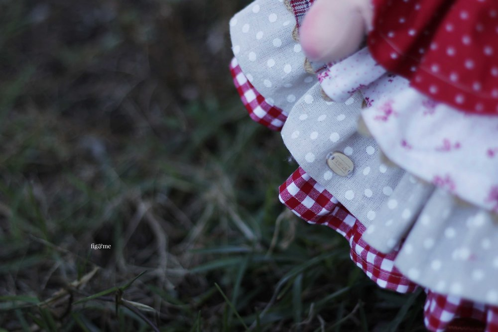 On our way to market. Detail of handmade doll clothing by Fig and me.