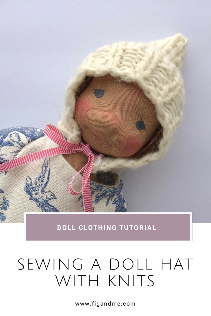 A simple tutorial to make a doll hat using repurposed knits, via Fig and Me. #dollclothing #sewingfordolls #dollmaking