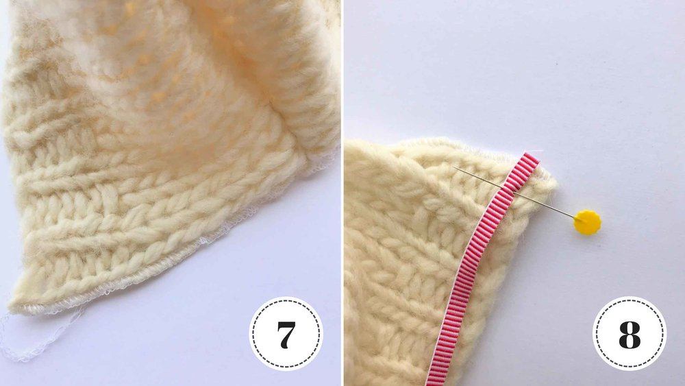 Sewing tutorial for a doll's hat made with repurposed knit fabric. via Fig and Me.