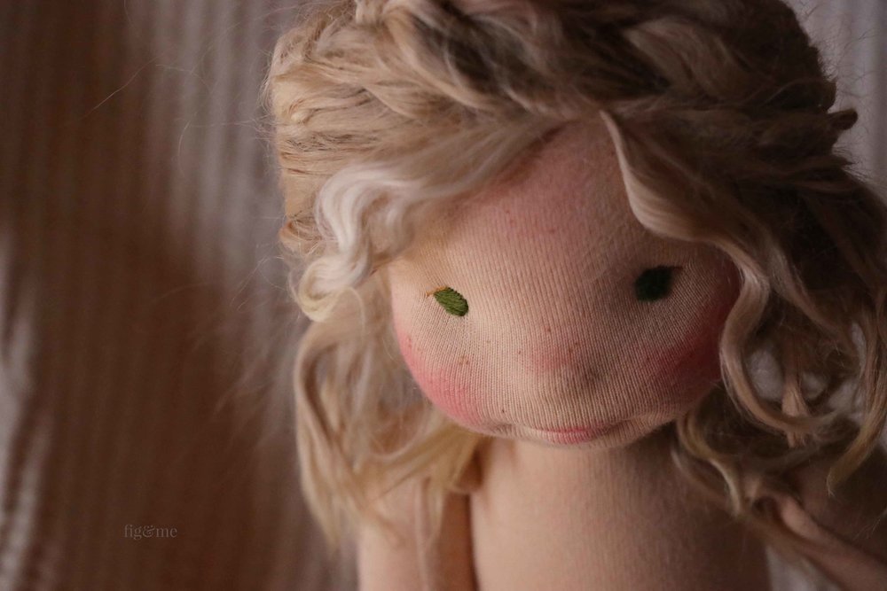 Custom natural fiber art doll by Fig and Me. Her name is Snow White and she has her sister Rose Red waiting for her.