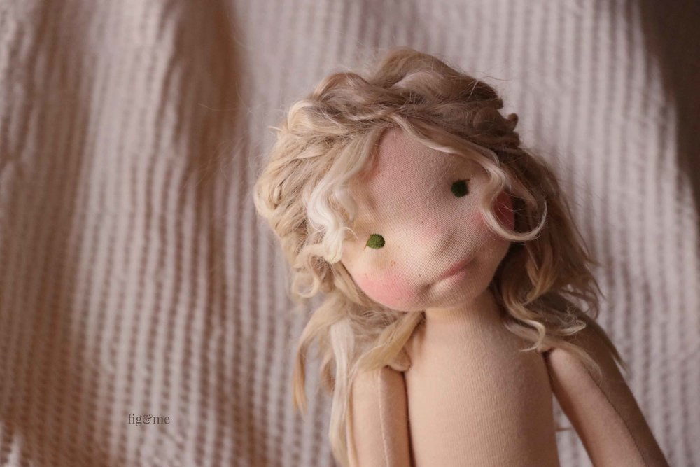 "Petite Fig by Fig and Me. This a natural fiber art doll, with needle-felted sculpted features, suri alpaca hair, stuffed with wool, and 18"" tall."