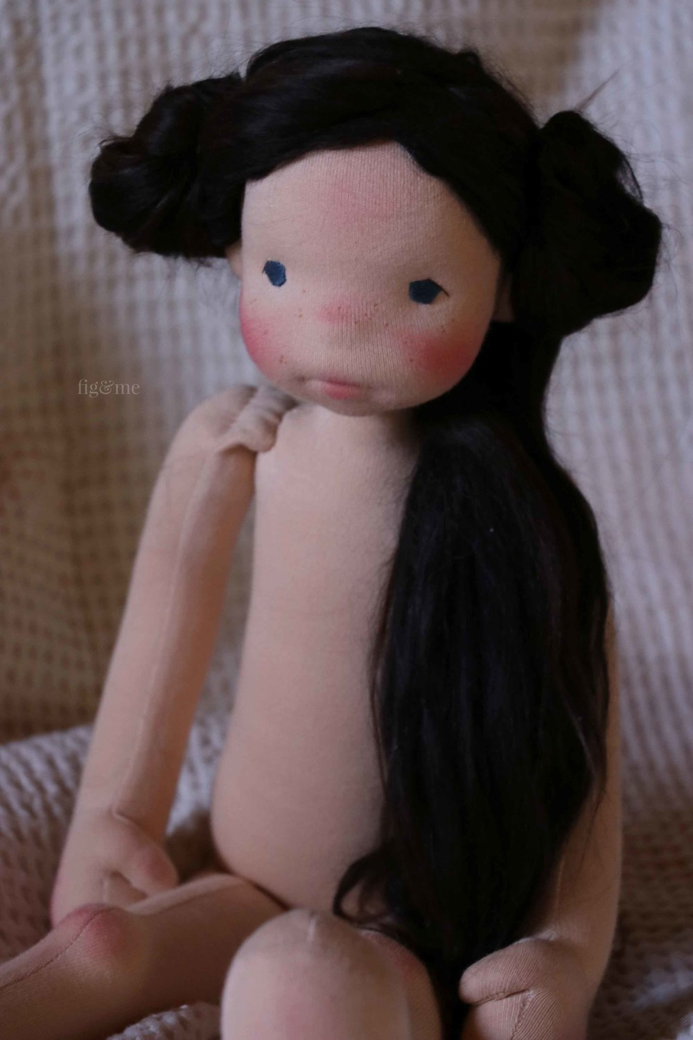 Rose Red, a doll inspired by the fairy tale of the Brothers' Grimm. Made by Fig and Me.
