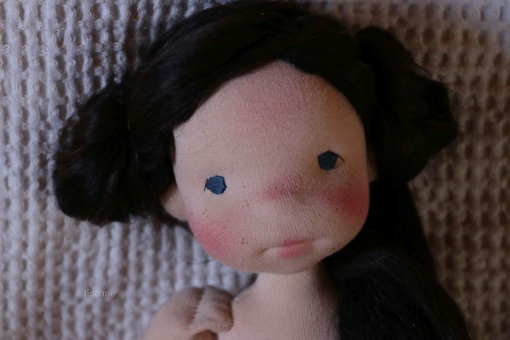 Rose Red, a natural fiber art doll by Fig and Me.