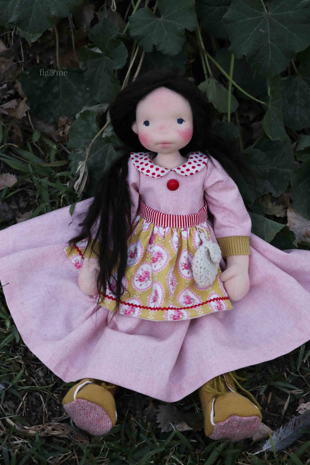 Rose Red, a natural fiber art doll by Fig and Me. Created inspired by the wonderful fairy tale of the Brothers Grimm.