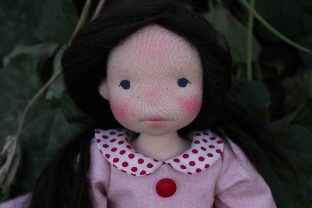 Rose Red with her freckle face, by Fig and Me.
