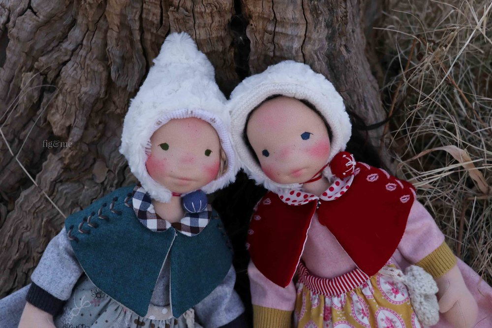 Snow White and Rose Red, ready to meet cranky dwarves. Custom natural fiber art dolls by Fig and Me.