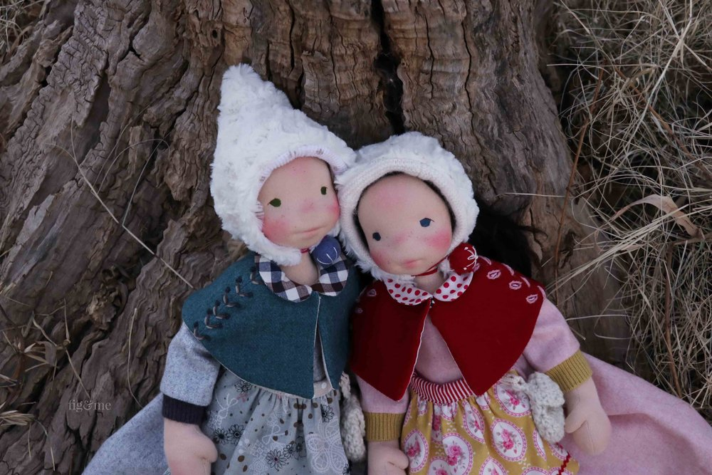 Two custom, natural fiber art dolls by Fig and Me. Snow White and Rose Red, from the Brothers Grimm fairy tale.