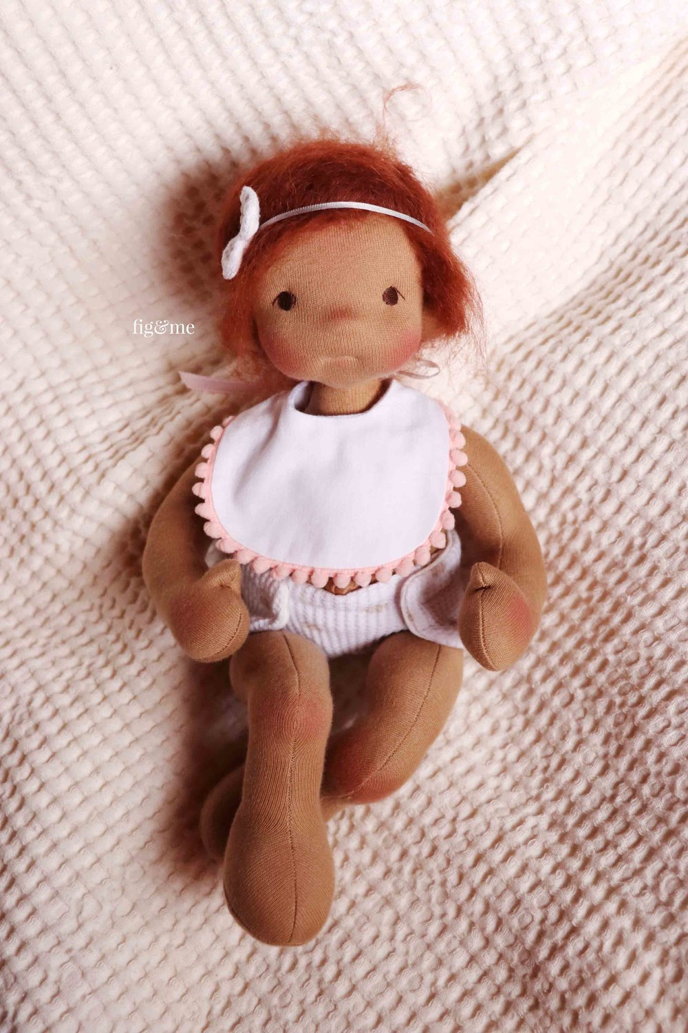 Sweet Baby Kasja, a weighted cloth doll by Fig and Me.