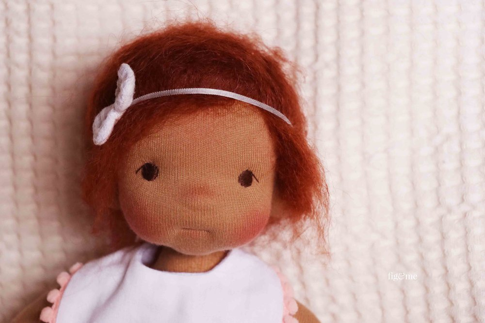 Baby Kasja, a natural fiber art doll by Fig and Me.