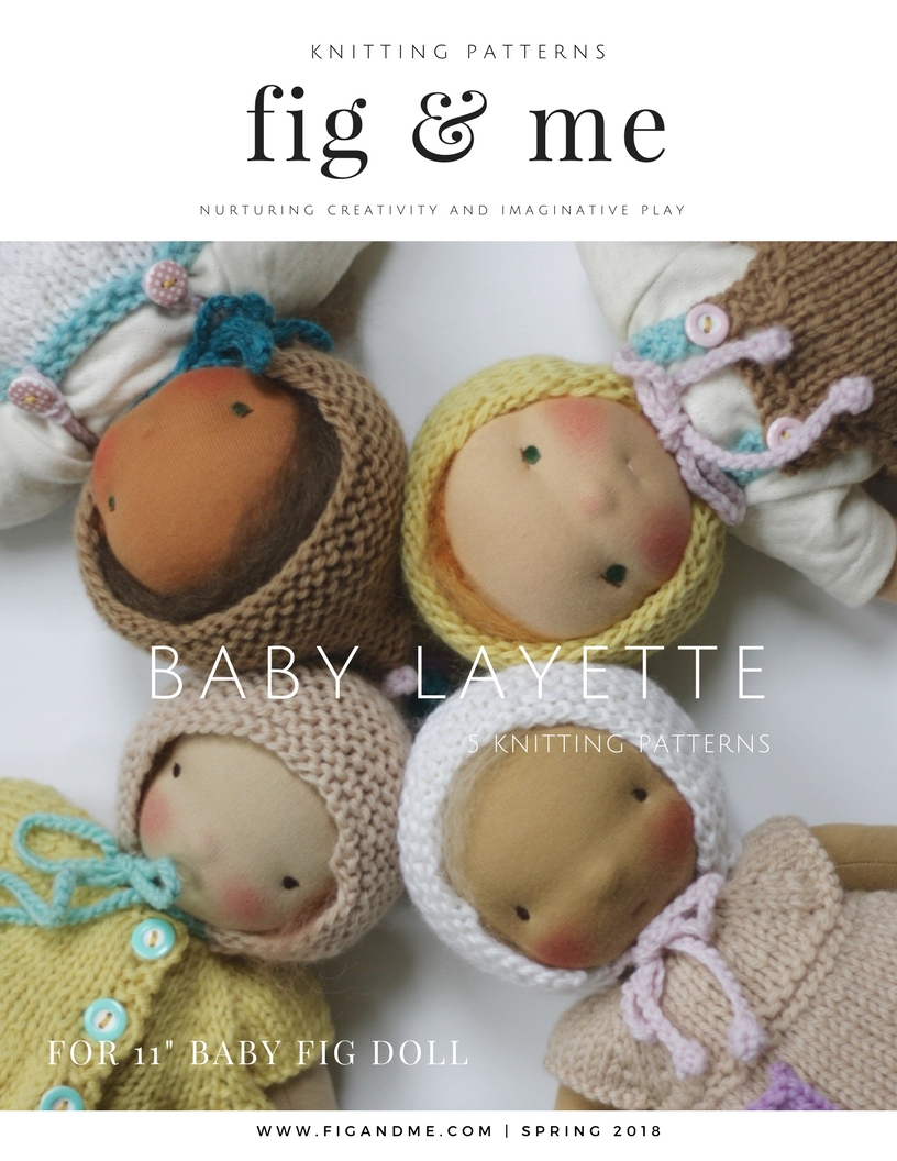 "You can find the Doll Baby Layette Knitting Pattern booklet in my shop. Five beautiful and simple patterns to dress your 11"" tall Baby Fig, by Fig and Me."