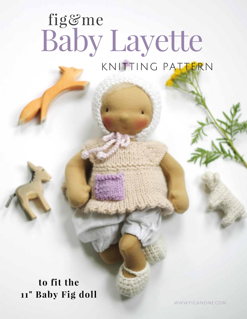 "Baby Layette Knitting pattern, to fit 11"" baby fig. Pattern available via Fig and Me."