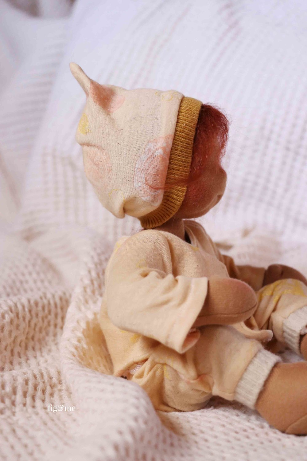Sweet Baby Kasja, a natural fiber art doll by Fig and Me.