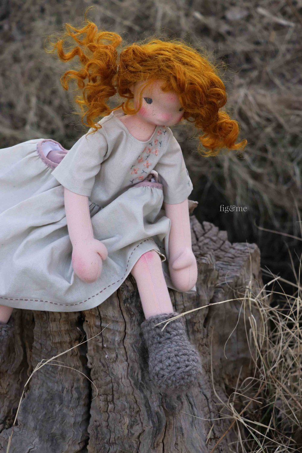 Maggie, by Fig and Me. A natural fiber art doll.